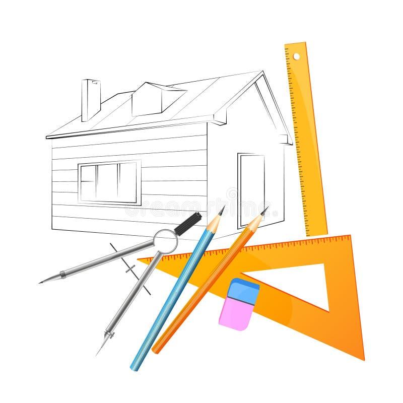 Conception de maison de projet illustration de vecteur