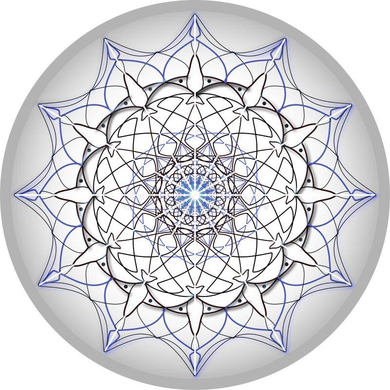 Conception de mandala dans gris et bleu argentés photographie stock libre de droits