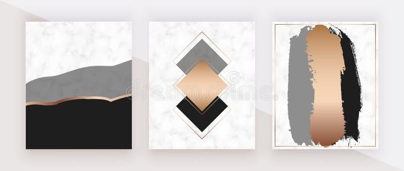 Conception de marbre géométrique moderne avec des formes d'or, grises et noires, texture d'aquarelle Milieux de mode pour la bann illustration stock
