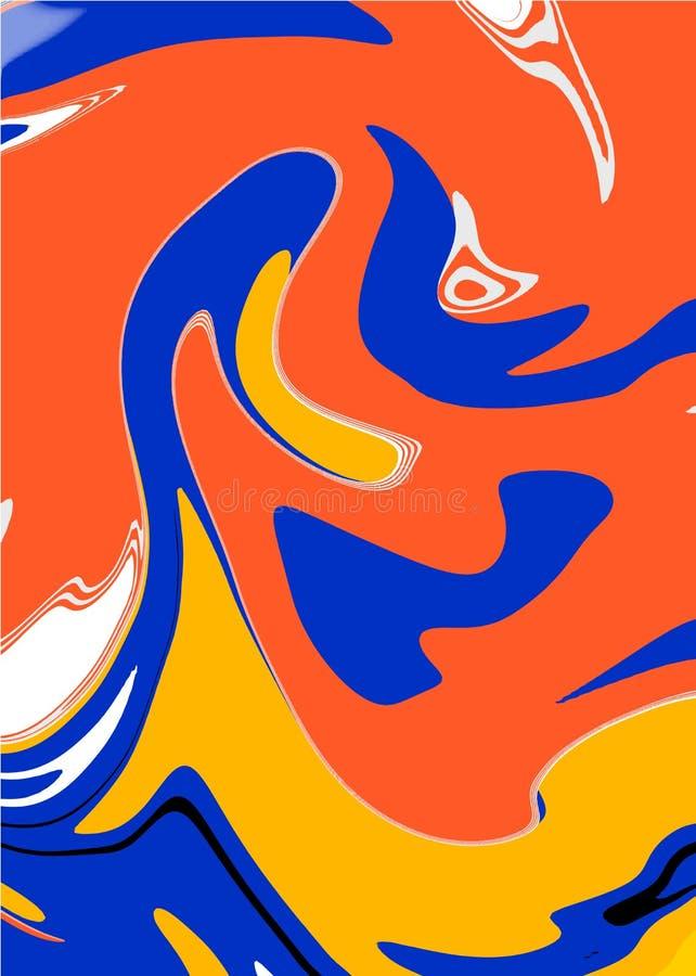 Conception de marbre liquide élégante de couverture Rétro modèle de Memphis illustration stock