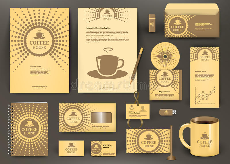 Conception de marquage à chaud beige pour le café, café, café, restaurant avec l'icône de tasse illustration libre de droits