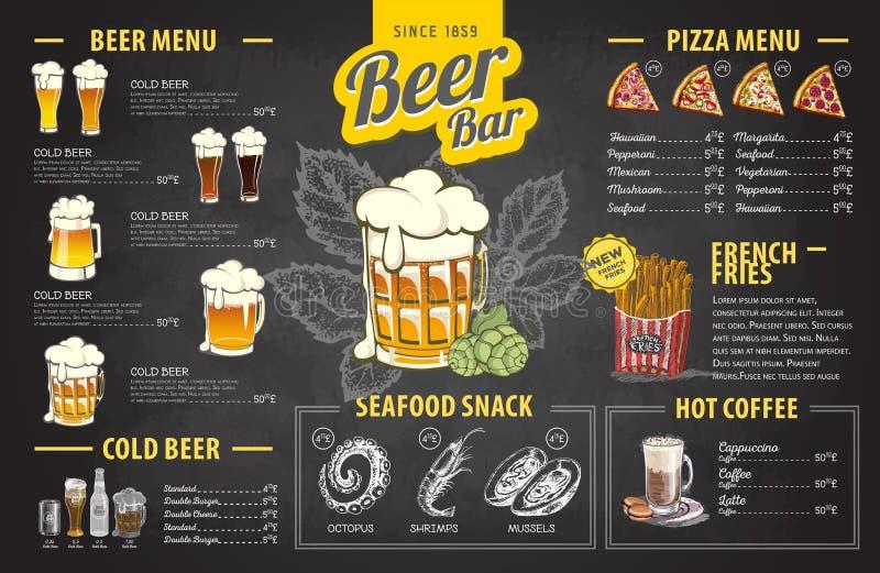 Conception de menu de bière de dessin de craie de vintage Le dîner de mariage avec de la viande de roulis a fumé et des tomates illustration libre de droits