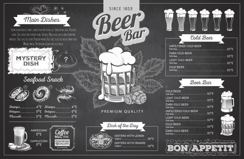 Conception de menu de bière de dessin de craie de vintage Le dîner de mariage avec de la viande de roulis a fumé et des tomates illustration de vecteur