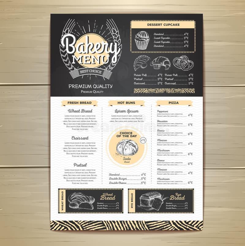 Conception de menu de boulangerie de dessin de craie de vintage Le dîner de mariage avec de la viande de roulis a fumé et des tom illustration stock