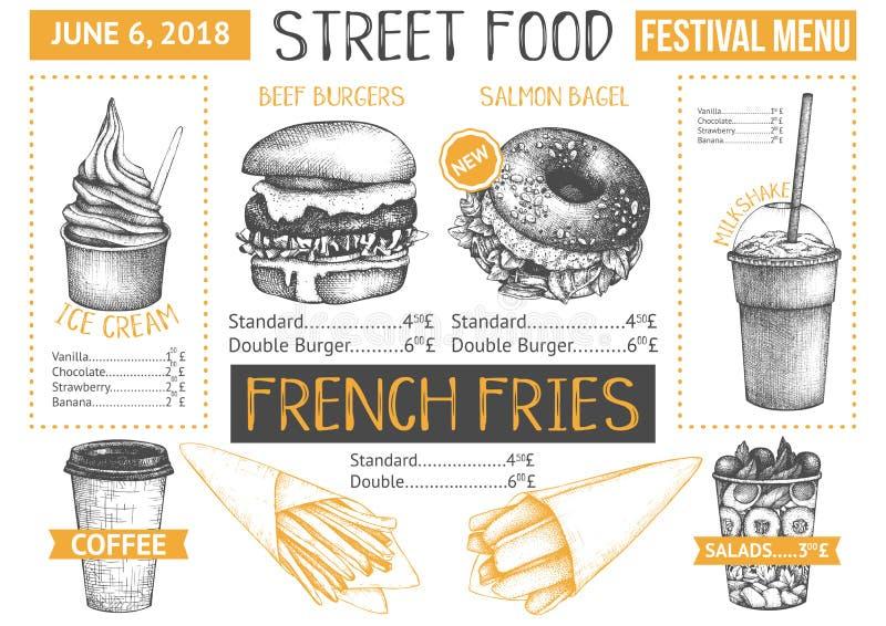 Conception de menu de camion de nourriture sur le fond blanc Insecte de restaurant d'aliments de préparation rapide Calibre de ca illustration libre de droits