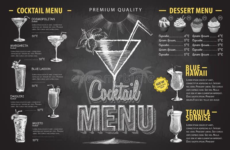 Conception de menu de cocktail de dessin de craie de vintage Menu de boissons illustration libre de droits