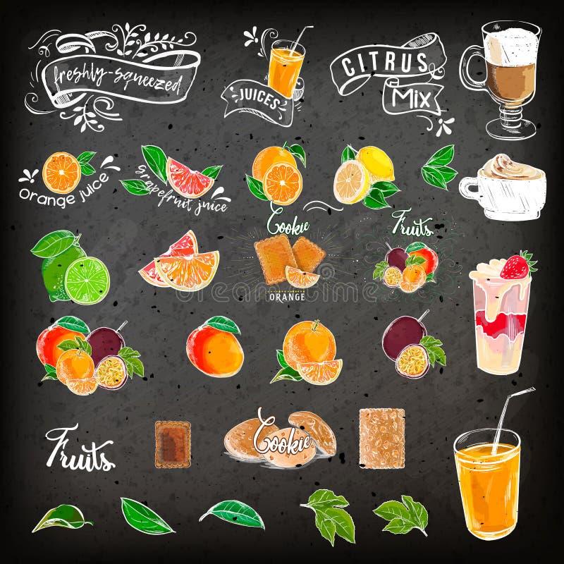 Conception de menu de cocktail de dessin de craie de vintage Menu de restaurant sur un fond foncé Retrait de main sur une tablett illustration de vecteur