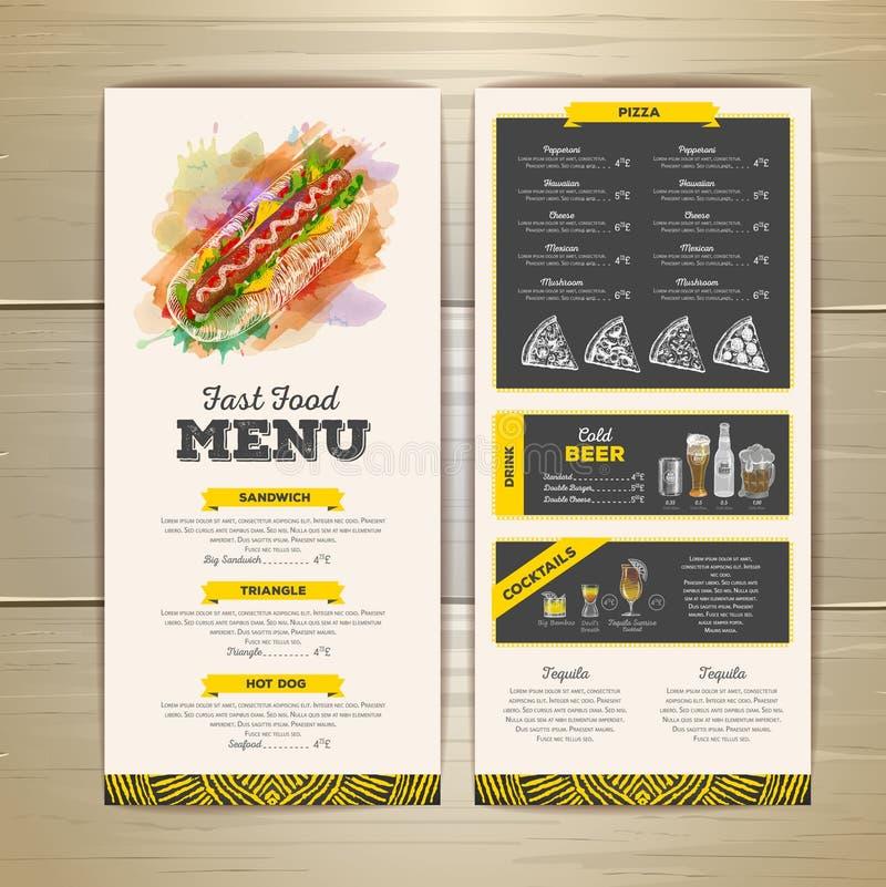 Conception de menu d'aliments de préparation rapide de dessin de craie de vintage illustration de vecteur
