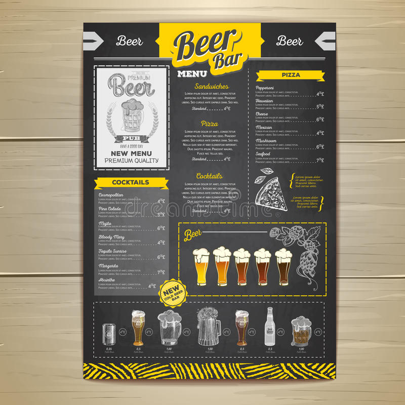 Conception de menu de bière de dessin de craie de vintage illustration stock