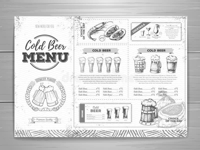 Conception de menu de bière de vintage illustration libre de droits