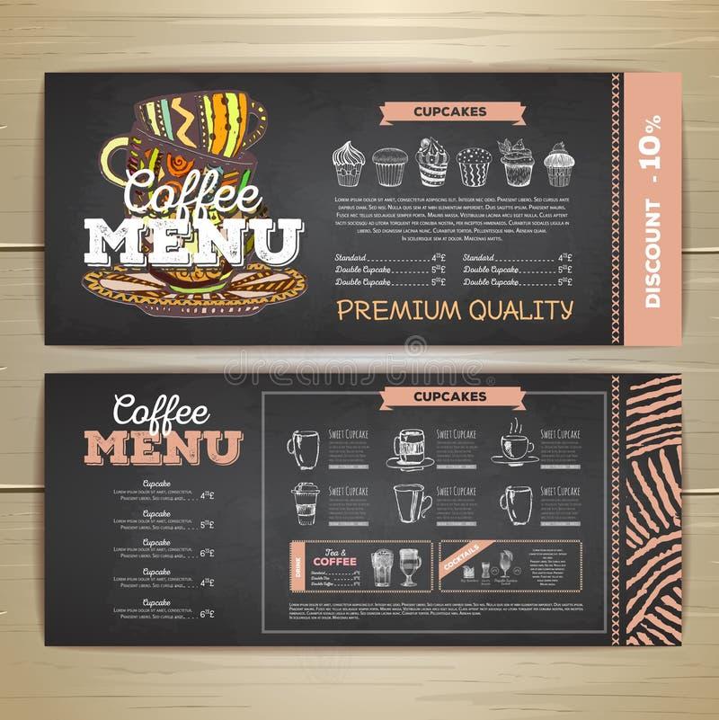 Conception de menu de café de dessin de craie de vintage illustration de vecteur