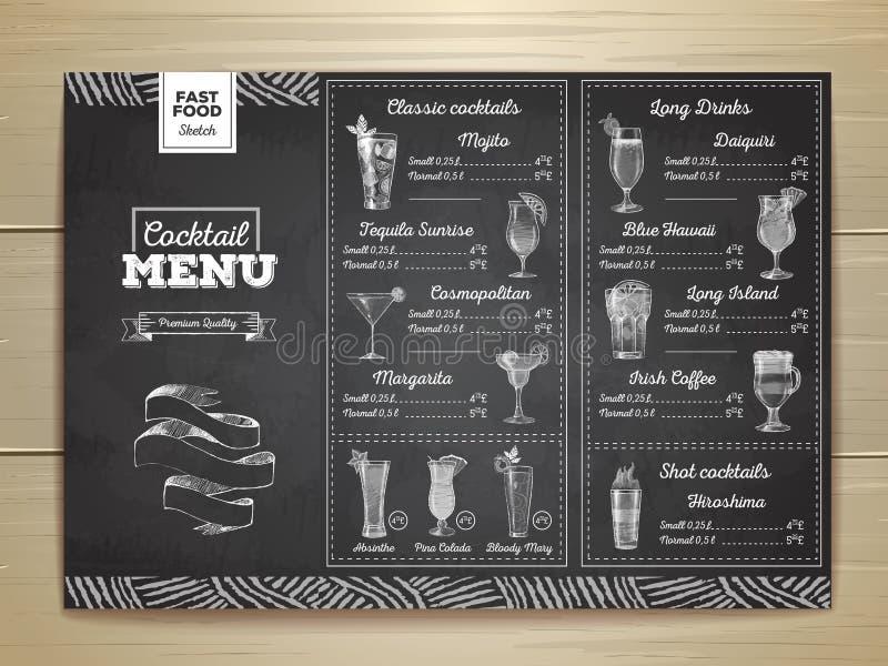 Conception de menu de cocktail de dessin de craie de vintage illustration de vecteur
