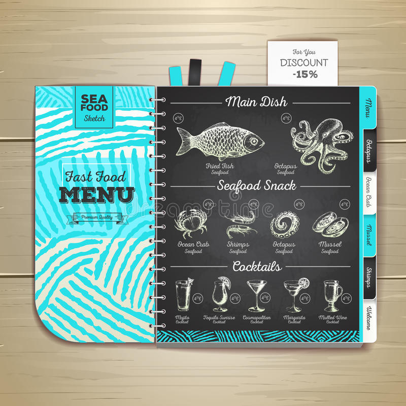 Conception de menu de fruits de mer de dessin de craie de vintage illustration libre de droits