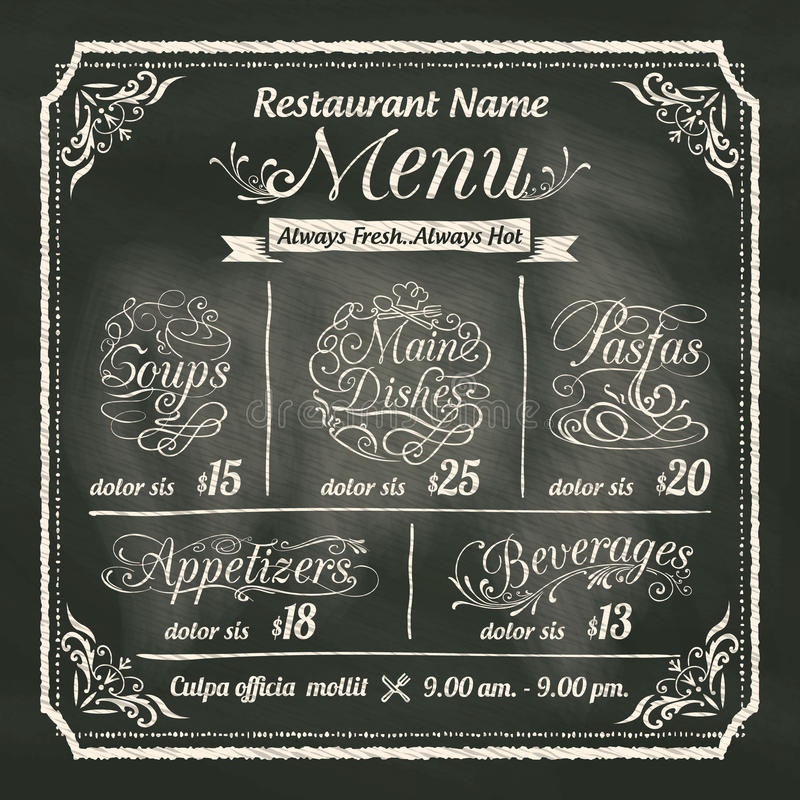 Conception de menu de nourriture de restaurant avec le fond de tableau illustration de vecteur
