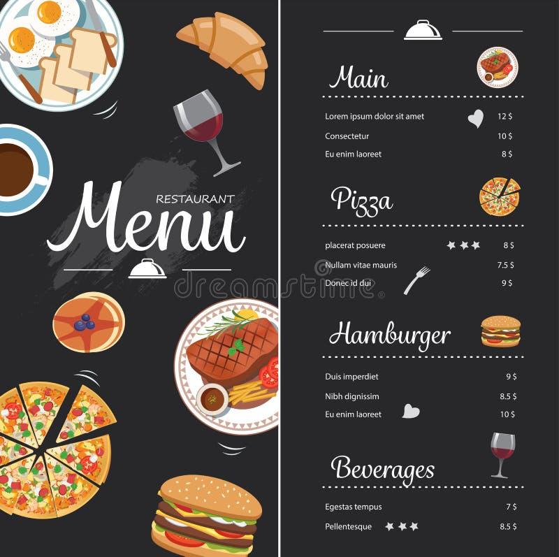 Download Conception De Menu De Nourriture De Restaurant Avec Le Tableau Illustration de Vecteur - Illustration du pizza, illustration: 56478725
