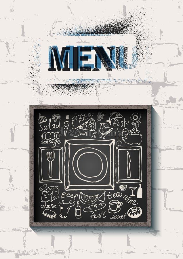 Conception de menu de nourriture de restaurant sur le fond de mur de briques Ensemble de nourriture tirée par la main sur le tabl illustration libre de droits