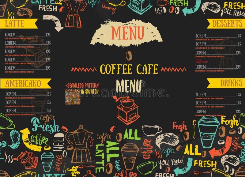 Conception de menu de restaurant de Bistros de Vecor avec le lettrage tiré par la main sur la couleur foncée illustration stock