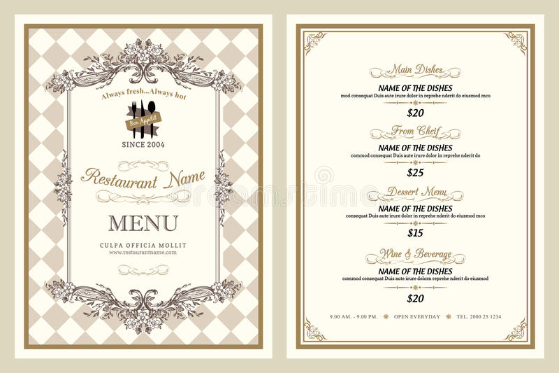 Conception de menu de restaurant de style de vintage illustration de vecteur