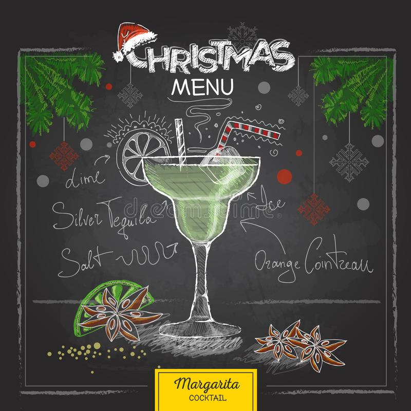 Conception de menu de Noël de dessin de craie Margarita de cocktail illustration stock