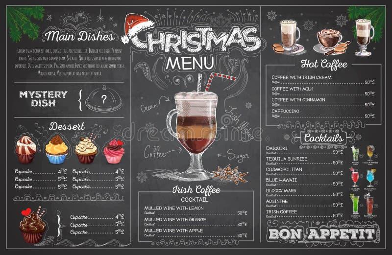 Conception de menu de Noël de dessin de craie de vintage Le dîner de mariage avec de la viande de roulis a fumé et des tomates illustration stock