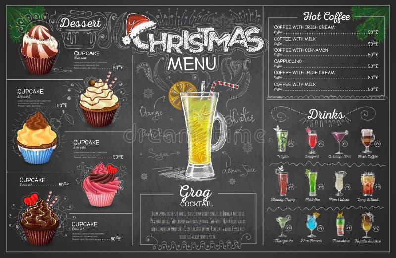 Conception de menu de Noël de dessin de craie de vintage Le dîner de mariage avec de la viande de roulis a fumé et des tomates illustration libre de droits