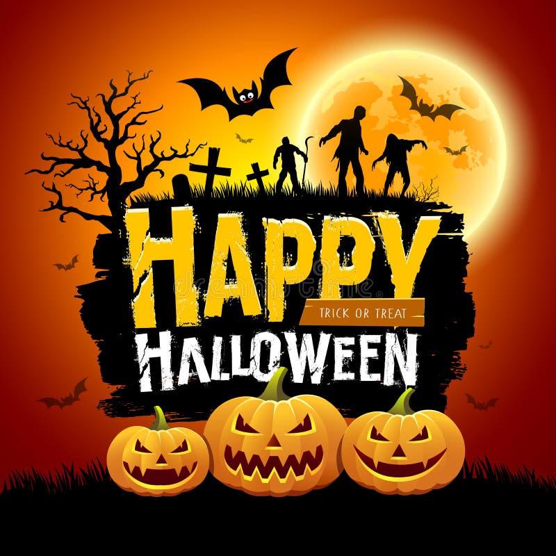 Conception de message heureuse de Halloween avec les potirons, la batte, l'arbre, les zombis et la pleine lune illustration stock