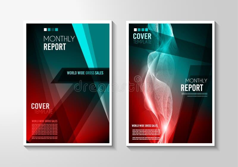Conception de Mininal de couverture de la brochure A4 avec des formes géométriques, gradients colorés illustration de vecteur