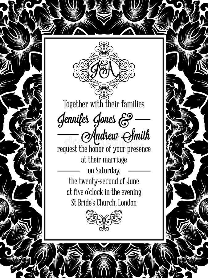 Conception de modèle de damassé pour épouser l'invitation en noir et blanc Cadre royal de brocard et monogramme exquis illustration stock