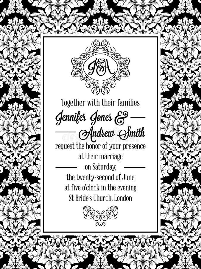 Conception de modèle de damassé pour épouser l'invitation en noir et blanc Cadre royal de brocard et monogramme exquis illustration libre de droits
