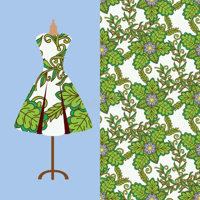 Conception de modèle de tissu pour la robe d'une femme Perfectionnez pour imprimer sur le tissu ou empaquetez photographie stock