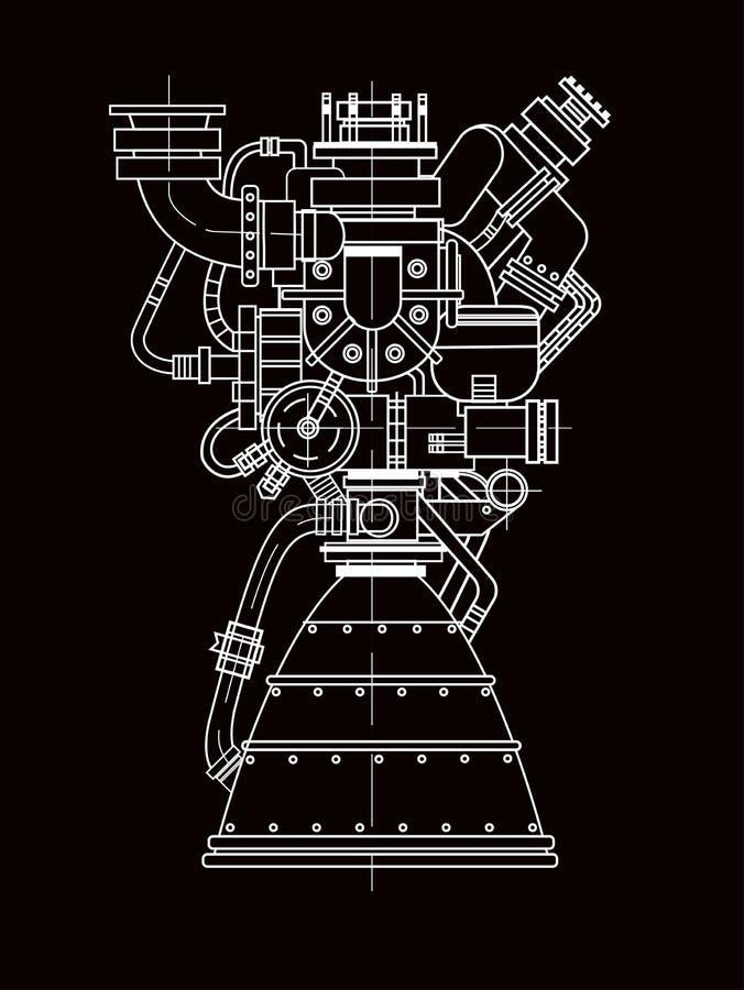 Conception de moteur-fusées Il peut être employé comme illustration pour le développement de pointe, d'ingénierie et la recherche illustration libre de droits