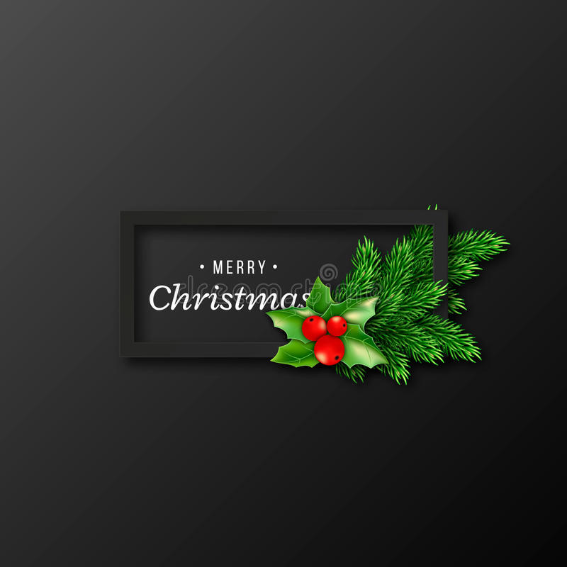 Conception de Noël, cadre noir réaliste illustration stock