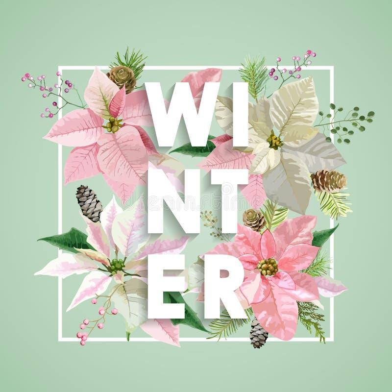 Conception de Noël d'hiver dans le vecteur Fleurs d'hiver avec des pins illustration stock