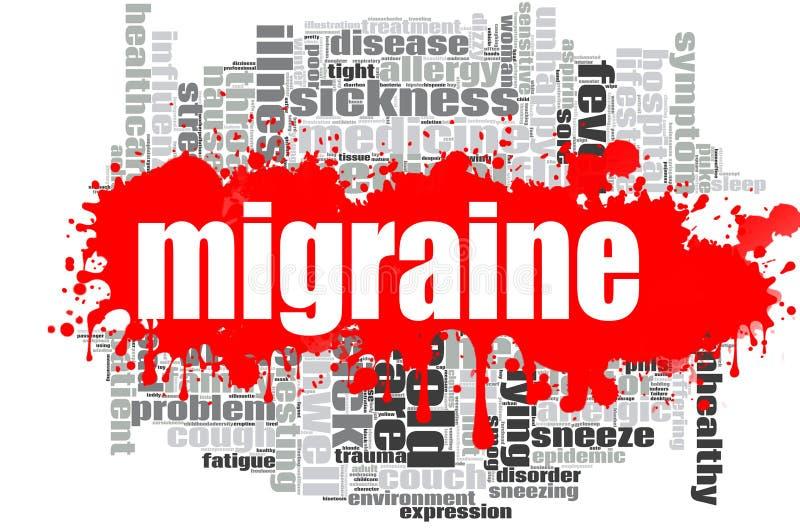 Conception de nuage de mot de migraine illustration de vecteur