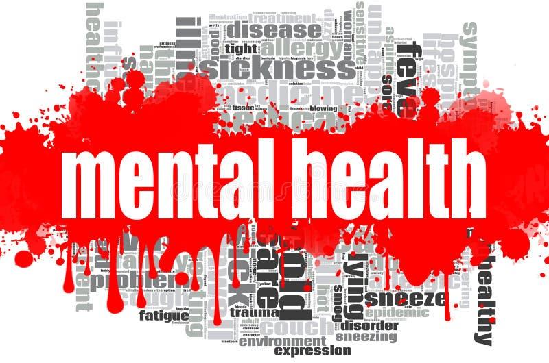 Conception de nuage de mot de santé mentale illustration libre de droits