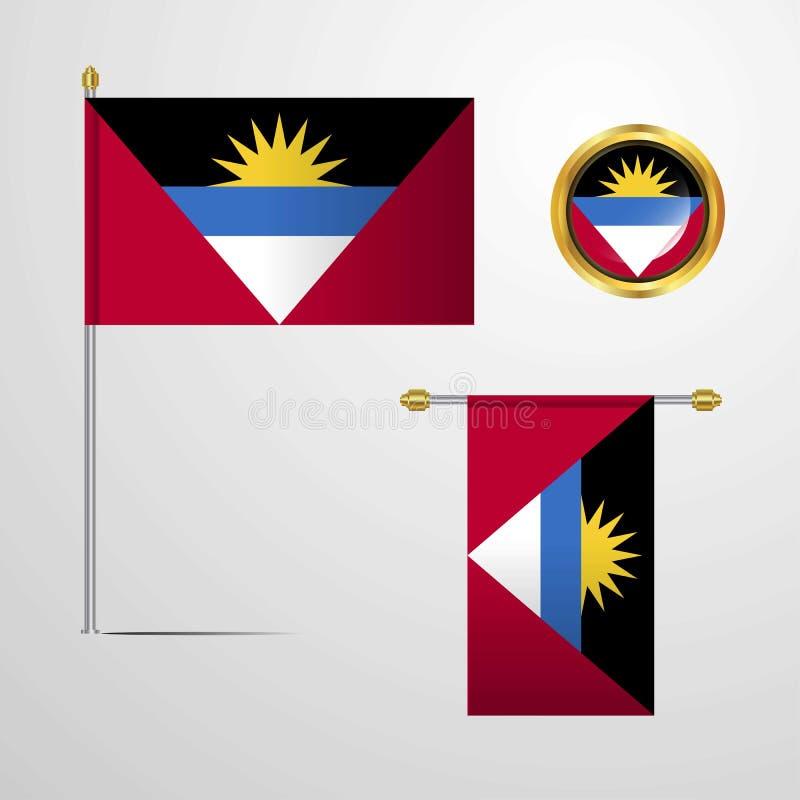 Conception de ondulation de drapeau de l'Antigua-et-Barbuda avec le vecteur d'insigne illustration libre de droits