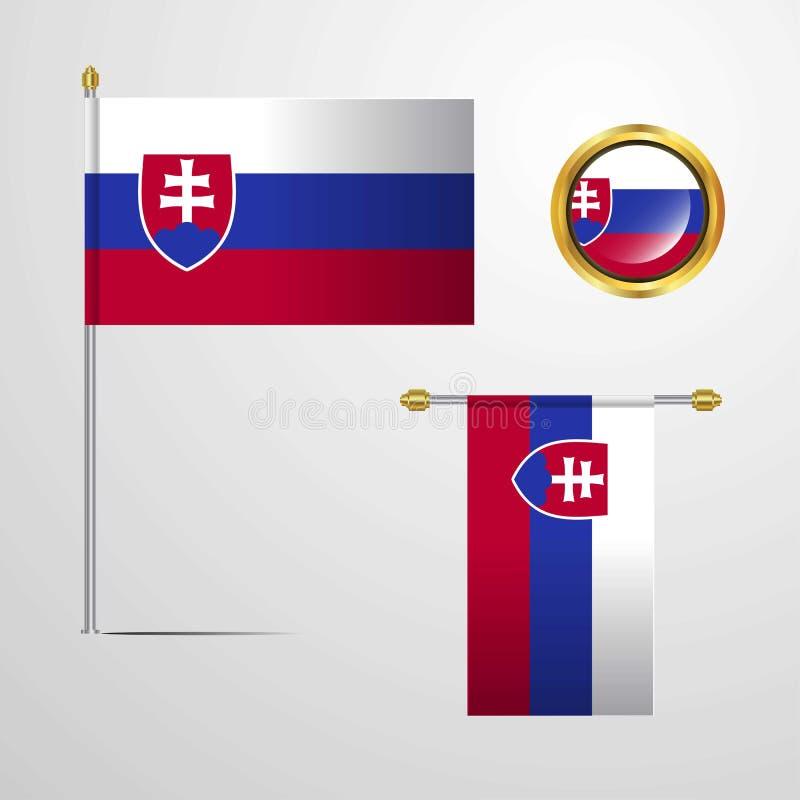 Conception de ondulation de drapeau de la Slovaquie avec le vecteur d'insigne illustration libre de droits