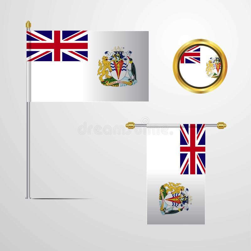 Conception de ondulation de drapeau de territoire antarctique britannique avec le vecteur d'insigne illustration libre de droits