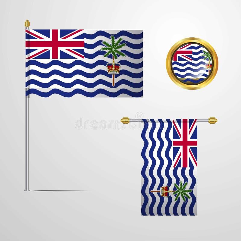 Conception de ondulation de drapeau de territoire d'Océan Indien britannique avec le vec d'insigne illustration libre de droits