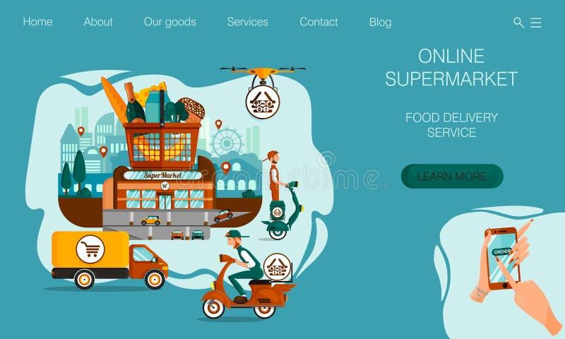 Conception de page d'atterrissage Le concept du supermarch? avec le service de distribution de nourriture et le syst?me en ligne  illustration stock