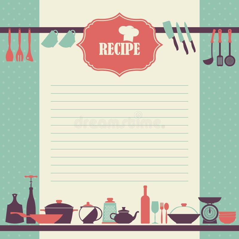 Conception de page de recette. Style de vintage faisant cuire la page de livre illustration stock