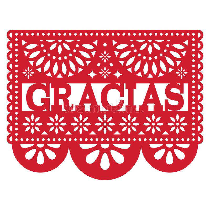 Conception de Papel Picado de Mexicain - le modèle de Gracias vous remercient de carder illustration libre de droits