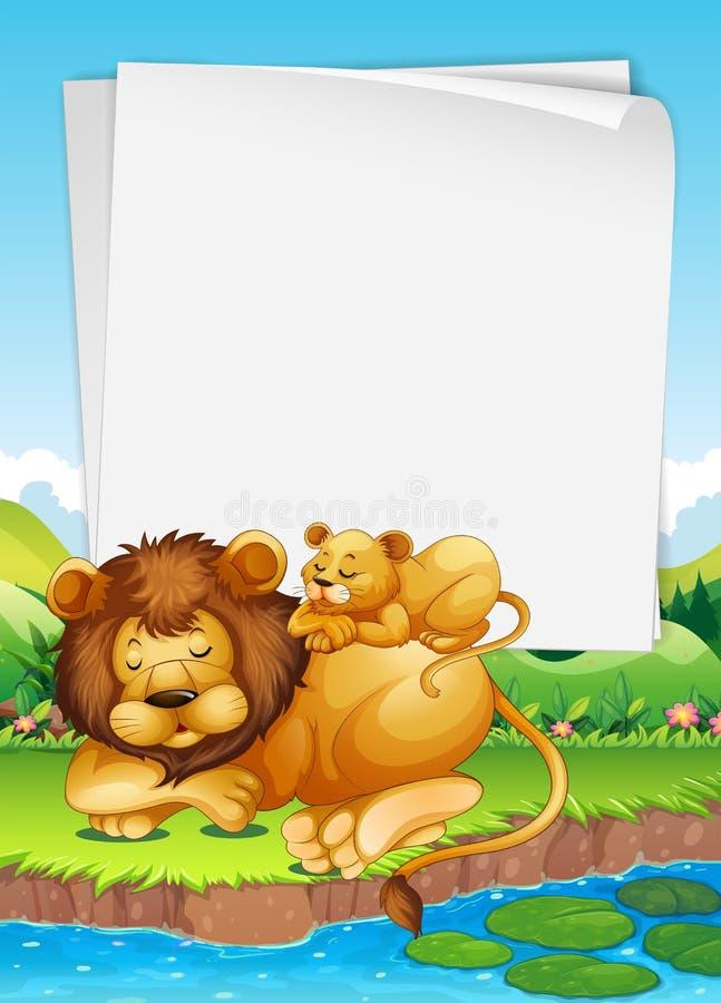 Conception de papier avec le sommeil de lion et de petit animal illustration stock