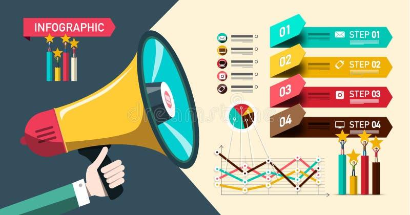 Conception de papier d'Infographic avec le mégaphone et les graphiques Disposition d'Infographics de site Web d'affaires de quatr illustration de vecteur