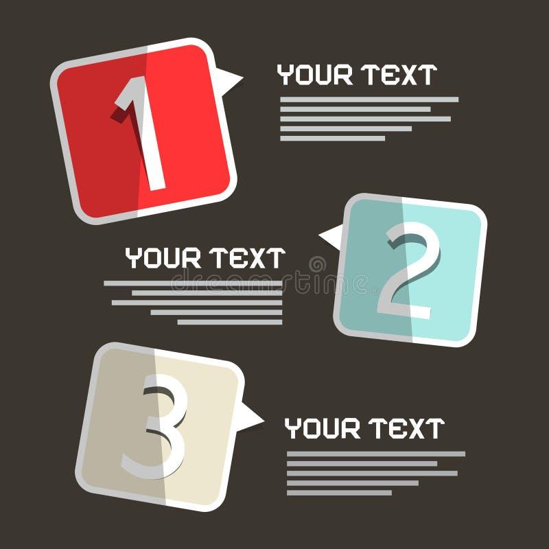 Conception de papier d'Infographics de trois étapes illustration libre de droits