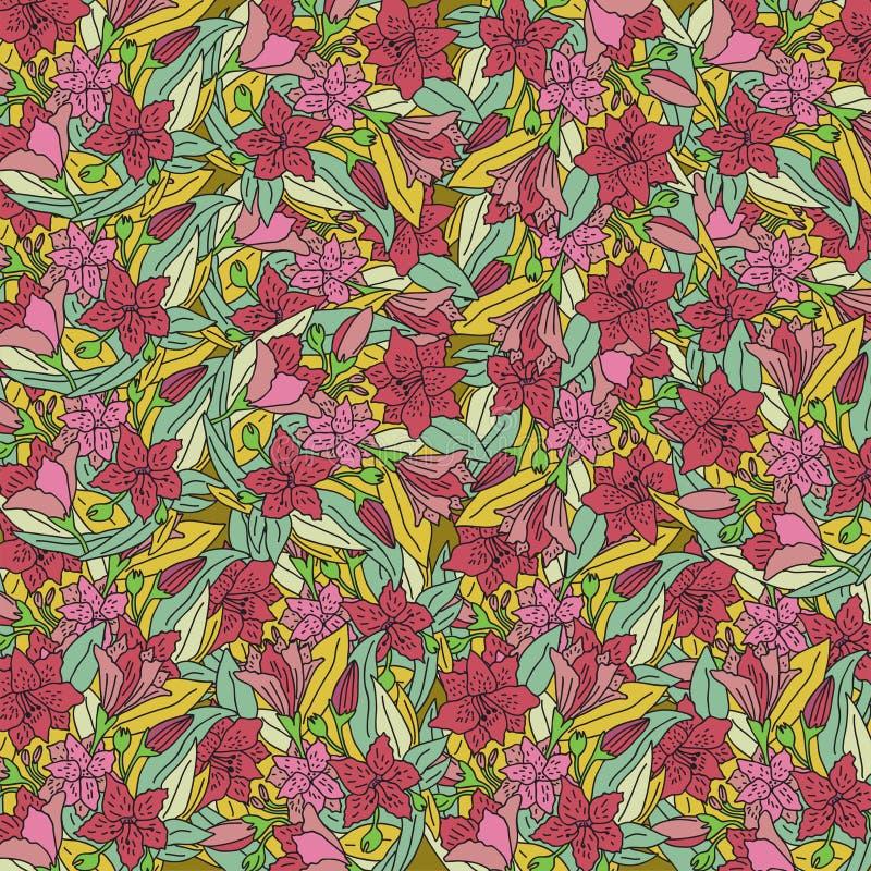 Conception de papier peint avec les fleurs tirées par la main illustration de vecteur