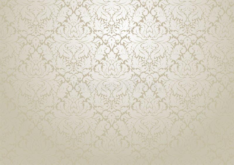 Conception de papier peint de damassé de vecteur Deco floral répétitif sans couture illustration de vecteur