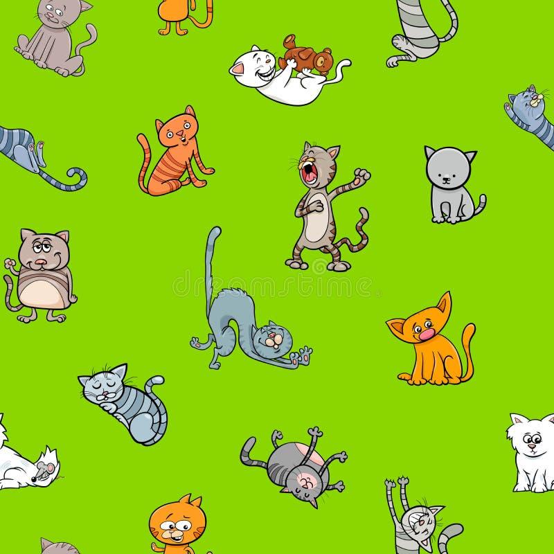 Conception de papier peint de bande dessinée avec des caractères de chat illustration de vecteur
