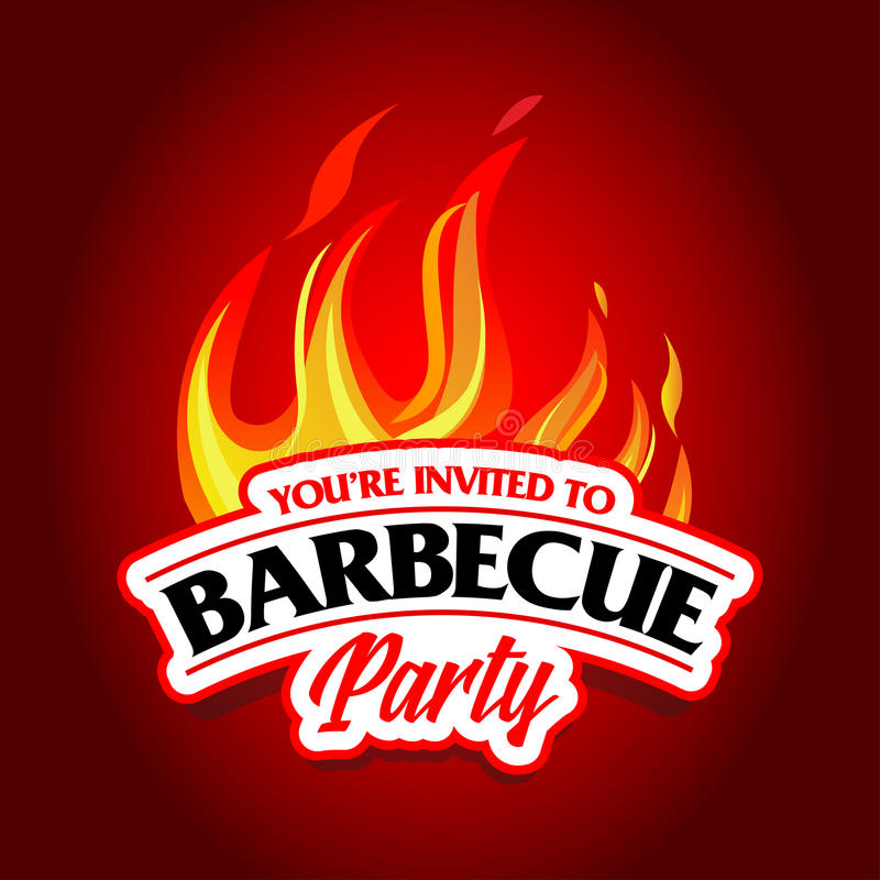 Conception de partie de barbecue, invitation de barbecue Logo de barbecue Conception de menu de calibre de BBQ Insecte de nourrit illustration libre de droits