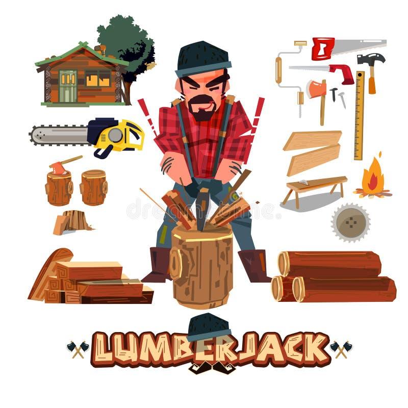 Conception de personnages de bûcheron avec la trousse d'outils bûcheron coupant W illustration stock